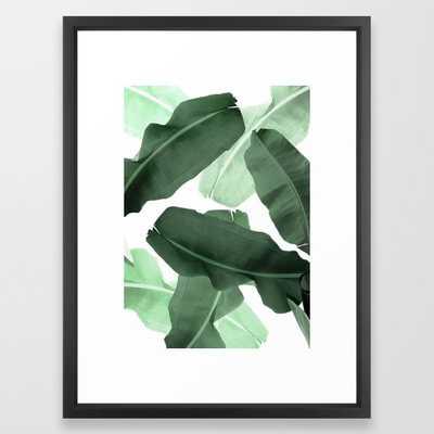 Green Banana Leaf Framed Art Print by Printsproject - Vector Black - MEDIUM (Gallery)-20x26 - Society6