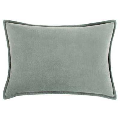 "Anika Modern Classic Green Velvet Flange Down Lumbar Pillow - 13 x 19"" - Kathy Kuo Home"