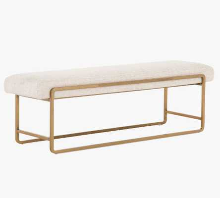 Willits Upholstered Bench, Polished Brass & Thames Cream - Pottery Barn