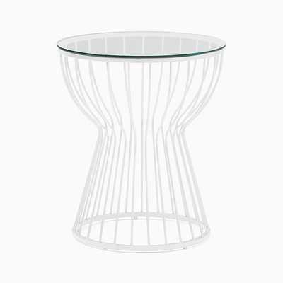 Pillar Glass/White Round Side Table - West Elm