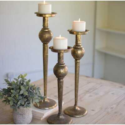 3 Piece Tall Metal Candlestick Set - Birch Lane