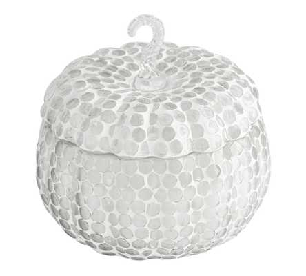 Mosaic Pumpkin Scented Candle - Cinnamon Bark, Clear/White, Medium - Pottery Barn