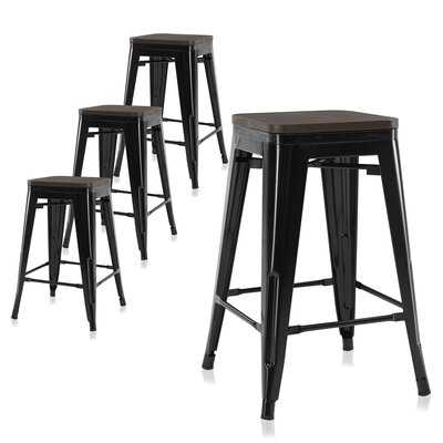 "Set Of 4, 30"" Metal Bar Stools Dining Chairs W/ Wood Seat, Stackable Counter Height Barstools, Brown - Wayfair"