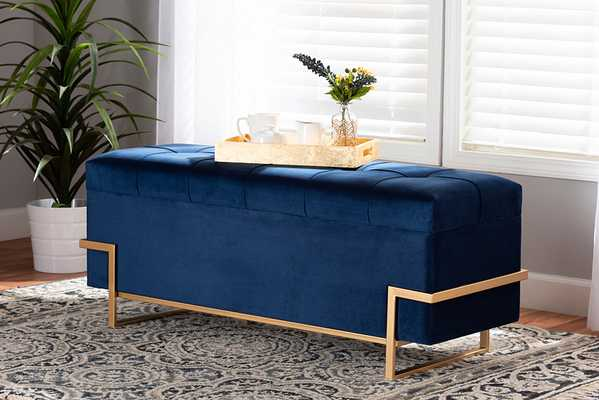Baxton Studio Parker Glam and Luxe Navy Blue Velvet Upholstered and Gold Metal Finished Storage Ottoman  - Lark Interiors