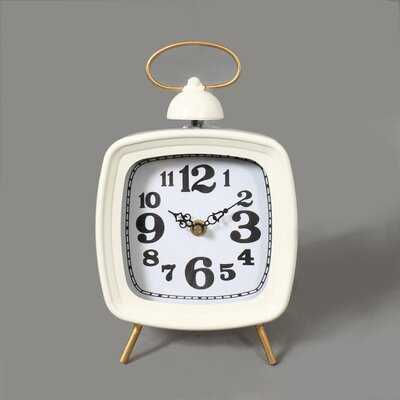 Analog Quartz Tabletop Clock in White - Wayfair