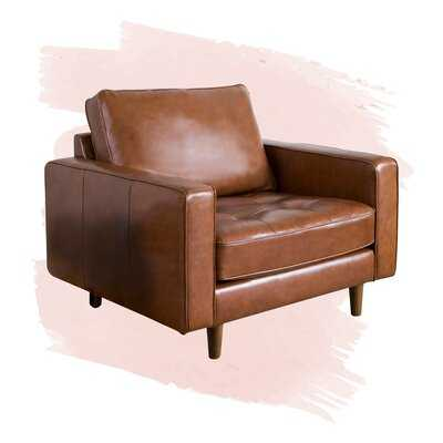 "Caffrey 40"" Tufted Top Grain Leather Armchair - Wayfair"