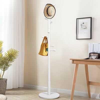 Wooden Coat Rack Stand Entryway Hall Tree 2 Adjustable Height W/ 10 Hooks - Wayfair