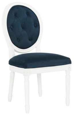 Holloway Tufted Oval Side Chair  - Navy/White - Arlo Home - Arlo Home