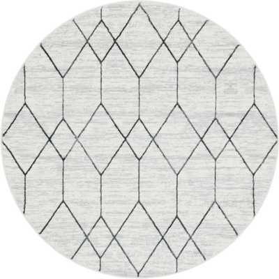 Unique Loom Matrix Trellis Deco White 8 ft. x 8 ft. Round Area Rug, Gray - Home Depot
