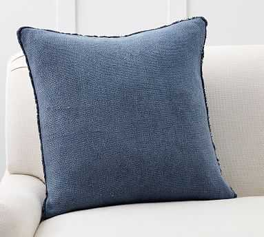 """Willa Fringe Textured Pillow Cover, 22"""", Stormy Blue - Pottery Barn"""
