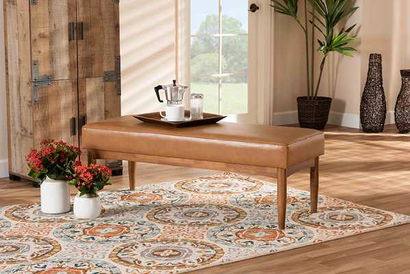 Baxton Studio Arvid Mid-Century Modern Tan Faux Leather Upholstered and Walnut Brown Finished Wood Dining Bench - Lark Interiors