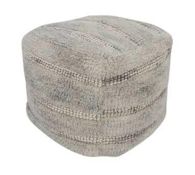"Handwoven Stripe Moroccan Pouf, 17x17x18"", Neutral Multi - Pottery Barn"