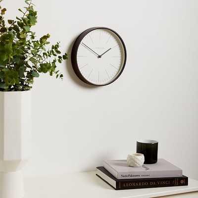 Newgate Mr. Clarke Clock, Dark Wood, Brass, Small - West Elm