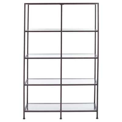 Home Decorators Collection Bella Antique Bronze Metal and Glass 4 Shelf Double Bookcase (40.75 in. W x 62.25 in. H) - Home Depot