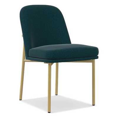 Jack Metal Frame Dining Chair, Distressed Velvet, Peacock, Light Bronze - West Elm