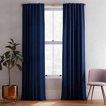 "Solid Belgian Linen Curtain, Midnight, 48""x84"" - West Elm"