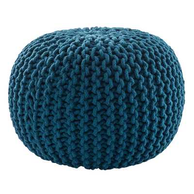 Spectrum Pouf Textured Blue Round Pouf - Collective Weavers