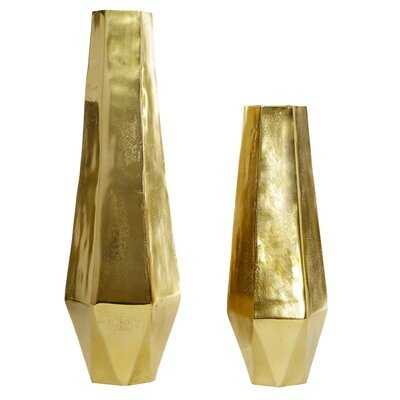 2 Piece Gold Aluminum Table Vase Set - Wayfair