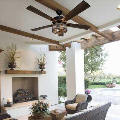 "52"" Abbigail Woodgrain Caged Farmhouse 5 Blade Ceiling Fan Light Kit Included - Birch Lane"