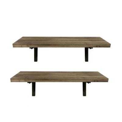 StyleWell 2 Foot Black Wood Wall Shelf With Decorative Bracket (Set of 2) - Home Depot