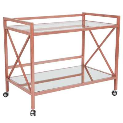Carnegy Avenue Clear/Rose Gold Bar Cart With Wheels - Home Depot
