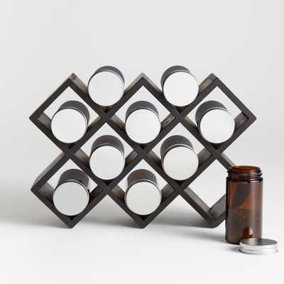 10-Jar Black Wood Spice Rack - Crate and Barrel