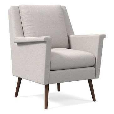 Carlo Mid-Century Chair, Poly, Twill, Wheat, Pecan - West Elm