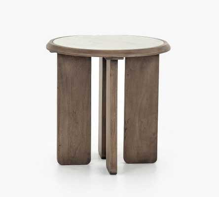 """Dante Reclaimed Wood Marble Round 22"""" End Table, Ashen Brown - Pottery Barn"""