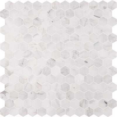 """Madeline Hex Honed 2"""" x 2"""" Marble Mosaic Tile - AllModern"""