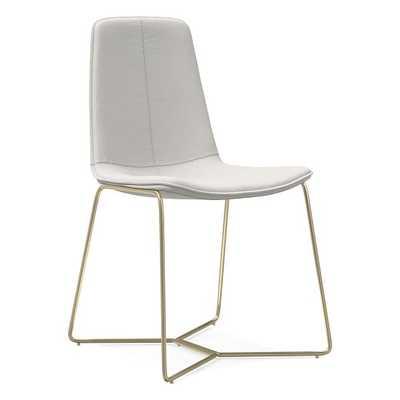 Slope Dining Chair, Sierra Leather, White Light Bronze - West Elm