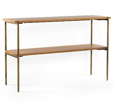 Archdale Console Table, Satin Brass & Natural Oak - Pottery Barn