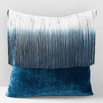 """Lush Velvet Tassel Fringe Pillow Case, Regal Blue, 20""""x20"""" - West Elm"""