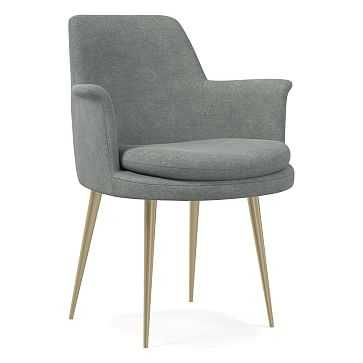 Finley Wing Dining Chair, Distressed Velvet, Mineral Gray, Light Bronze - West Elm