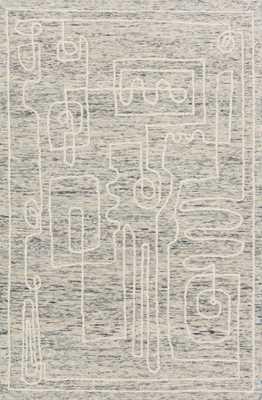 "LEELA LEE-01 Sky / White 7'-9"" x 9'-9"" - Loma Threads"