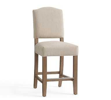 Ashton Upholstered Non Tufted Counter Height Bar Stool, Belgian Gray Frame, Organic Cotton Basketweave Caramel - Pottery Barn