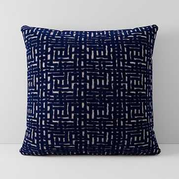 "Allover Crosshatch Jacquard Velvet Pillow Cover, 18""x18"", Nightshade - West Elm"