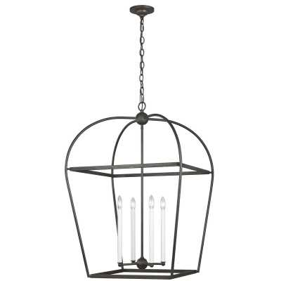 "Chapman & Myers by Generation Lighting Stonington 4 - Light Lantern Geometric Chandelier Finish: Smith Steel, Size: 37.25"" H x 24.63"" W x 24.63"" D - Perigold"