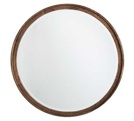 "Campbell Wood Round Mirror - 32"" x 32"" - Pottery Barn"
