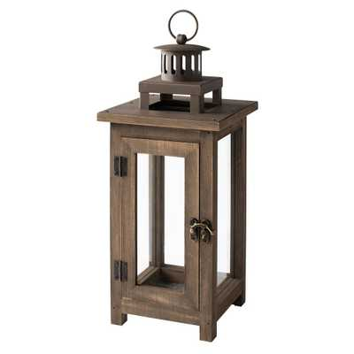 Hampton Bay 14 in. Wood and Metal Outdoor Patio Lantern, Antique Browns - Home Depot