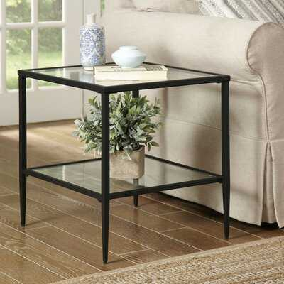 Harlan Double Shelf Glass Top Side Table with Storage - Wayfair