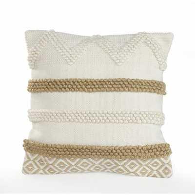 LR Home 20 in. x 20 in. Knot Beige/White Neutral Textured Cotton Standard Throw Pillow, Beige / White - Home Depot