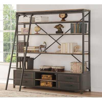Storage Metal Frame Bookshelf With Rolling Ladder In Sandy Gray Handmade Paint Finish - Wayfair