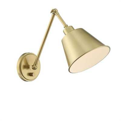 Crystorama Mitchell 1-Light Aged Brass Sconce - Home Depot