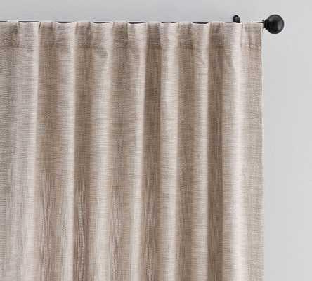 "Seaton Textured Cotton Rod Pocket Blackout Curtain, 50 x 84"", Dark Flax - Pottery Barn"