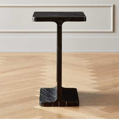 I Beam Black Marble Side Table - CB2