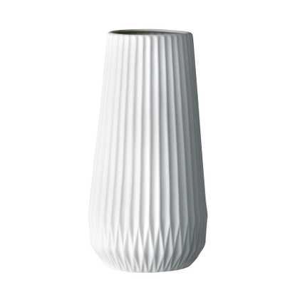 Tall White Ceramic Fluted Vase - Moss & Wilder