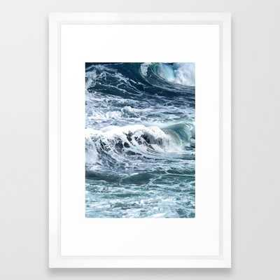 Blue Sea Ocean Waves Framed Art Print by Printsproject - Vector White - SMALL-15x21 - Society6