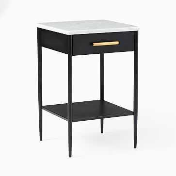 Metalwork Storage Nightstand, Marble, Hot Rolled Steel - West Elm