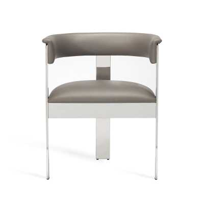 Interlude Darcy Upholstered Metal Arm Chair Upholstery Color: Horizon Gray, Frame Color: Polished Nickel - Perigold