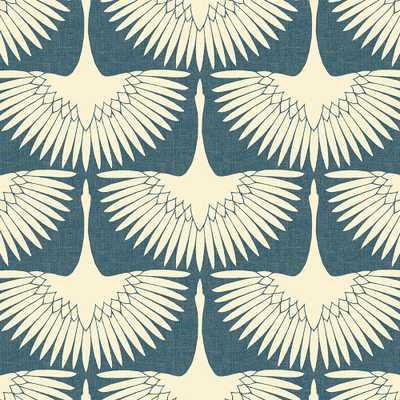 Genevieve Gorder Feather Flock Denim Blue Peel and Stick Wallpaper 56 sq. ft. - Home Depot